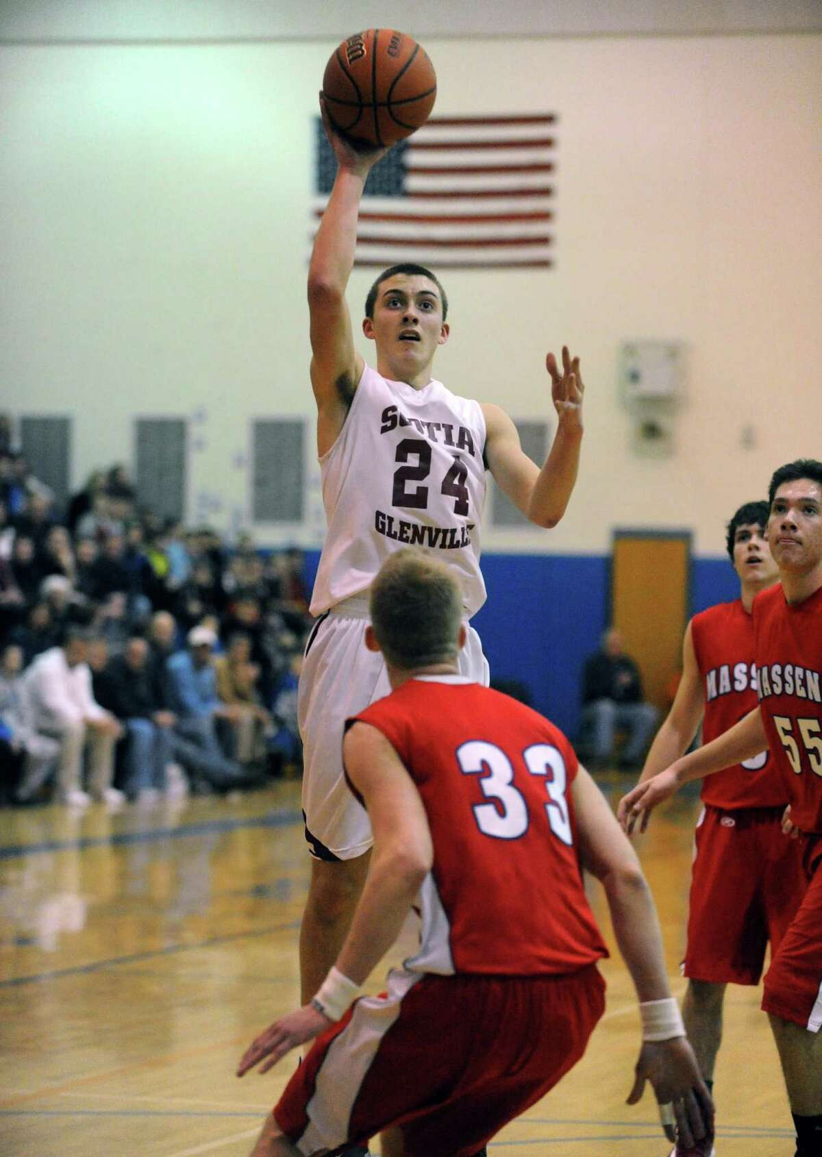 Scotia's Joe Cremo goes in for a score during their Region 2 Class A Semi-Finals boy's basketball game against Massena on Wednesday March 6, 2013 in Saratoga Springs, N.Y. (Michael P. Farrell/Times Union)