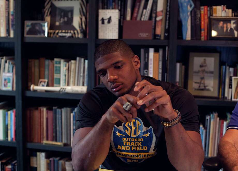 Michael Sam, a University of Missouri football player, speaks to reporters by phone regarding his announcement that he is gay in Los Angeles, Calif., Feb. 9, 2014. Sam is expected to be chosen in the early rounds of May's NFL draft, an invitation to be a trailblazer in American sports, where no openly gay male athlete has played. (John Francis Peters/The New York Times) ORG XMIT: XNYT129 Photo: JOHN FRANCIS PETERS / NYTNS