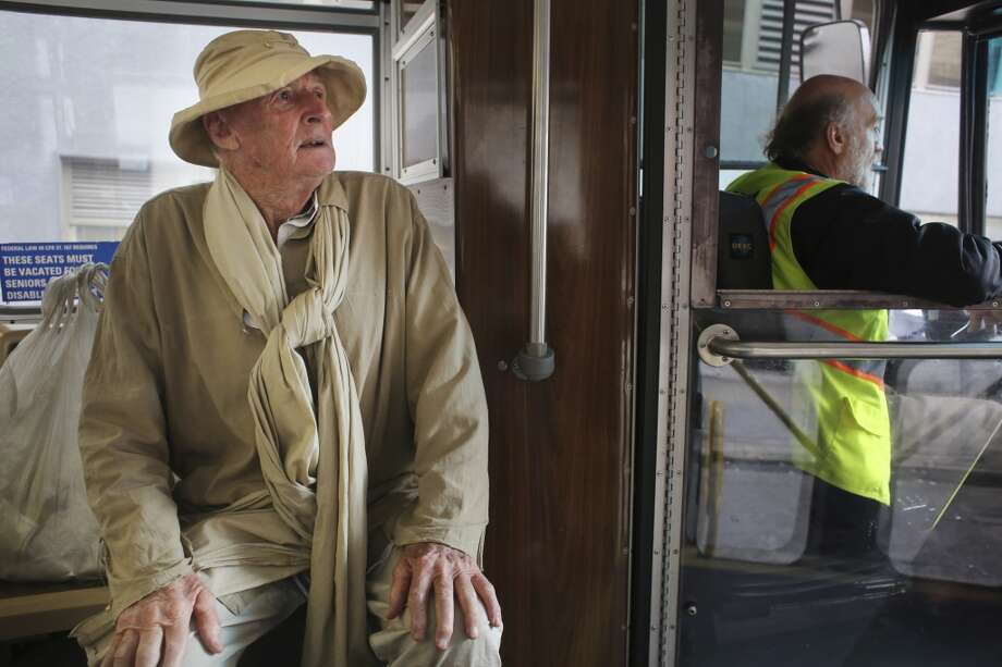 Frank Hatfield, 88, takes a bus to Chinatown on Tuesday Feb. 2, 2014 in San Francisco, Calif. Photo: Mike Kepka, The Chronicle