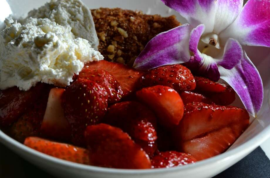 The Grill's strawberries and cream with coffee cake. Photo taken Wednesday, January 22, 2014 Guiseppe Barranco/@spotnewsshooter