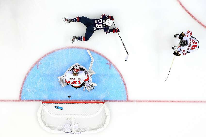 Amanda Kessel #28 of United States scores her team's eigth goal during the Women's Ice Hockey Preliminary Round Group A game on day three of the Sochi 2014 Winter Olympics at Shayba Arena on February 10, 2014 in Sochi, Russia.