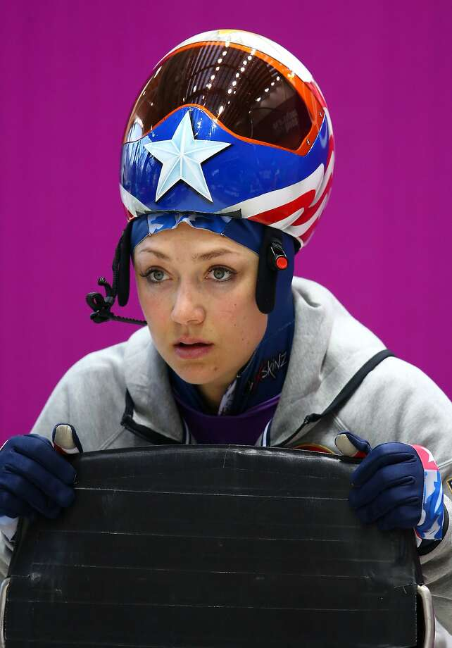 Katie Uhlaender of USA prepares to make a run during a Women's Skeleton training session on Day 3 of the Sochi 2014 Winter Olympics at the Sanki Sliding Center on February 10, 2014 in Sochi, Russia. Photo: Alex Livesey, Getty Images