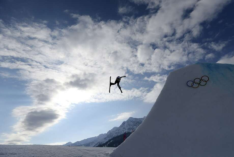 Germany's Lisa Zimmermann takes a jump during freestyle skiing slopestyle training at the 2014 Winter Olympics, Monday, Feb. 10, 2014, in Krasnaya Polyana, Russia. Photo: Sergei Grits, Associated Press