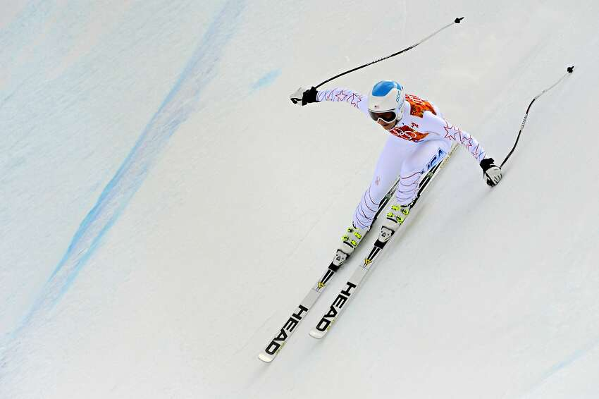Julia Mancuso of the USA competes during the Alpine Skiing Women's Super Combined at the Sochi 2014 Winter Olympic Games at Rosa Khutor Alpine Centre on February 10, 2014 in Sochi, Russia.