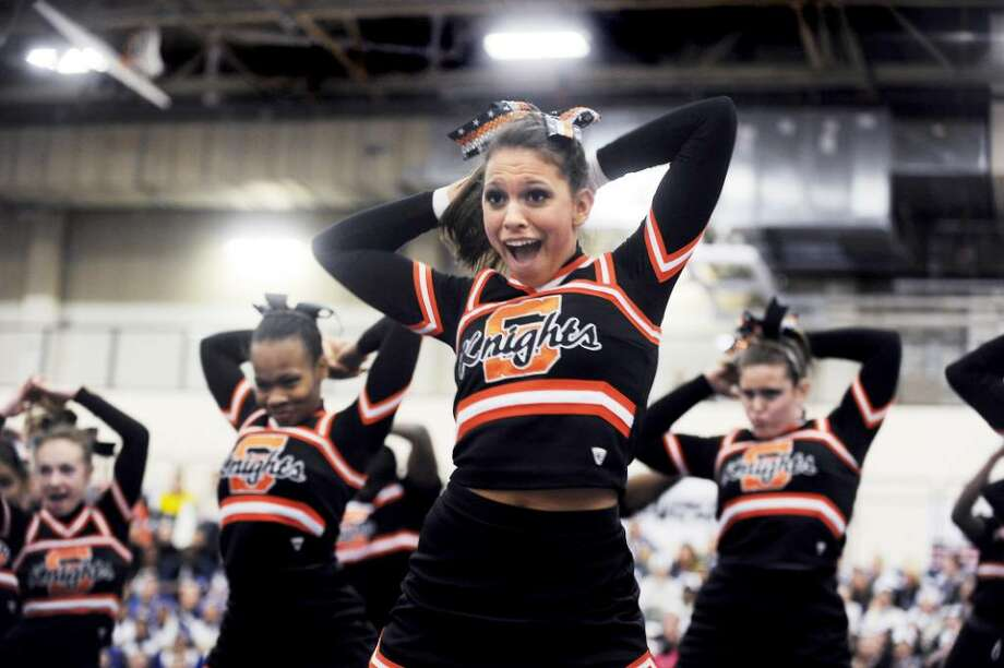 Chelsea Sciarretta performs with the Stamford High School cheerleading team as they compete in the FCIAC Cheerleading Competition at Wilton High School  in Wilton, Conn. on Saturday, Feb. 6,  2010. Photo: Kathleen O'Rourke / Stamford Advocate