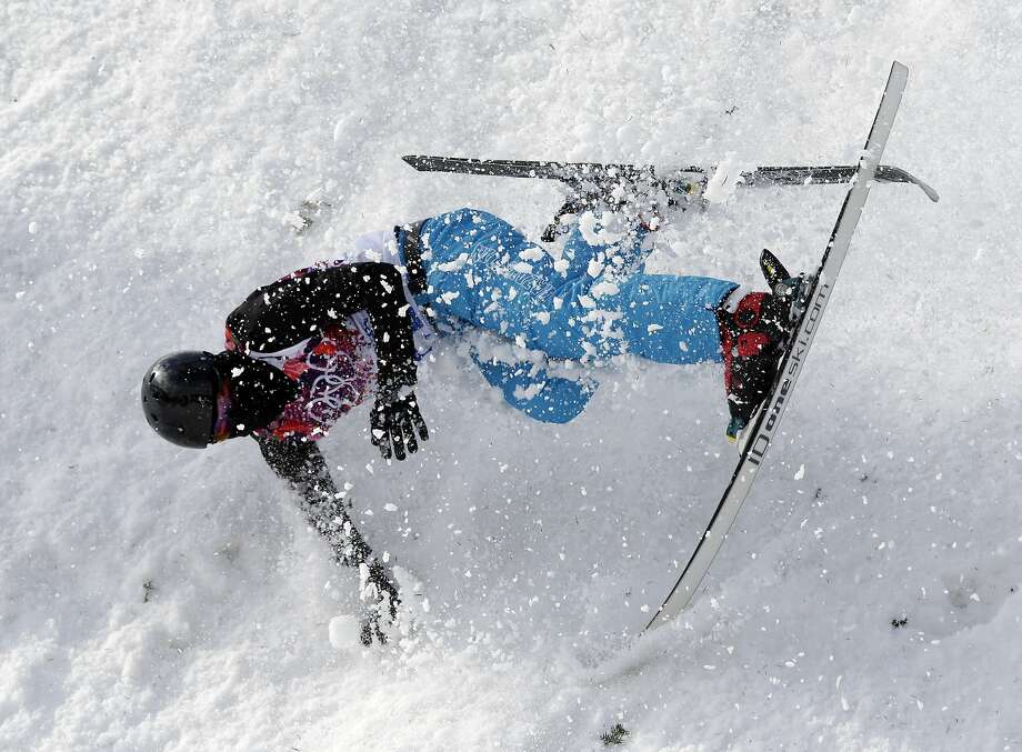 Norway's Per Kristian Hunder crashes during freestyle skiing aerials training at the Rosa Khutor Extreme Park at the 2014 Winter Olympics, Monday, Feb. 10, 2014, in Krasnaya Polyana, Russia. Photo: Andy Wong, Associated Press
