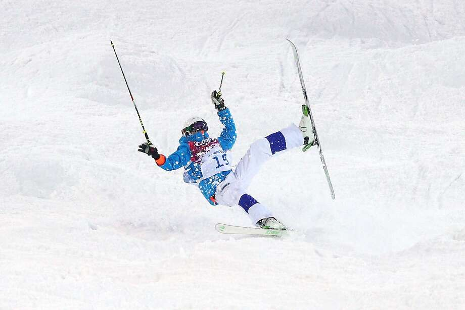 Ville Miettunen of Finland crashes out in the Men's Moguls Qualification on day three of the Sochi 2014 Winter Olympics at Rosa Khutor Extreme Park on February 10, 2014 in Sochi, Russia. Photo: Cameron Spencer, Getty Images