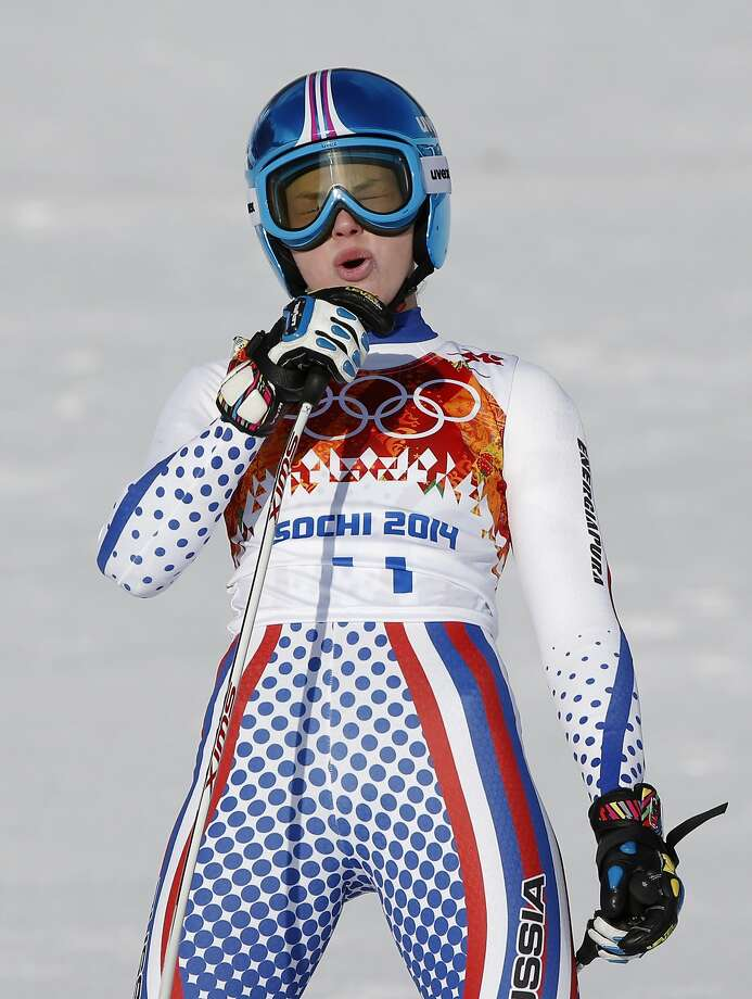 Russia's Yelena Yakovishina reacts after finishing the downhill portion of the women's supercombined in the Sochi 2014 Winter Olympics, Monday, Feb. 10, 2014, in Krasnaya Polyana, Russia. Photo: Christophe Ena, Associated Press