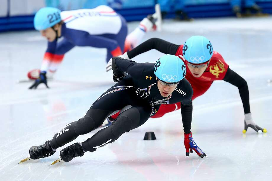 Sebastien Lepape of France falls as J.R. Celski of the United States and Dequan Chen of China skate in the Short Track Men's 1500m Semifinal on day 3 of the Sochi 2014 Winter Olympics at Iceberg Skating Palace on February 10, 2014 in Sochi, Russia. Photo: Streeter Lecka, Getty Images
