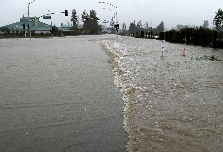 Pineapple Express: An atmospheric river originating near the Hawaiian islands produces warm, extended storms on the West Coast, like this one that flooded Sonoma County in February 2014. Click through to see some of the other colorful regionalisms for weather phenomena.  Photo: Brant Ward, The Chronicle