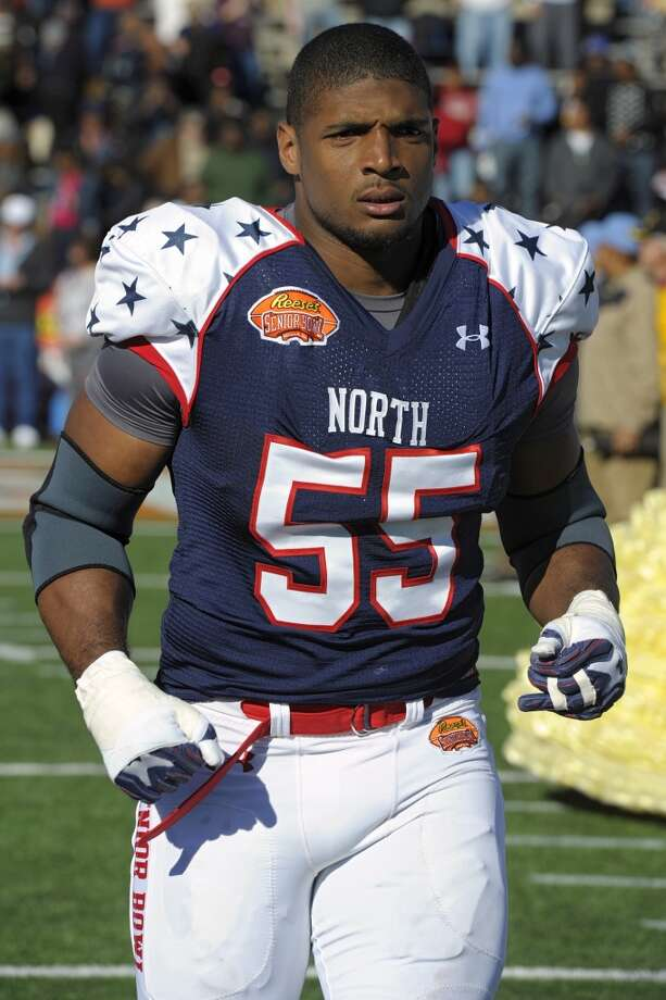 Michael Sam played at the Senior Bowl on Jan. 25, 2014, in Mobile, Ala. Photo: G.M. Andrews, Associated Press