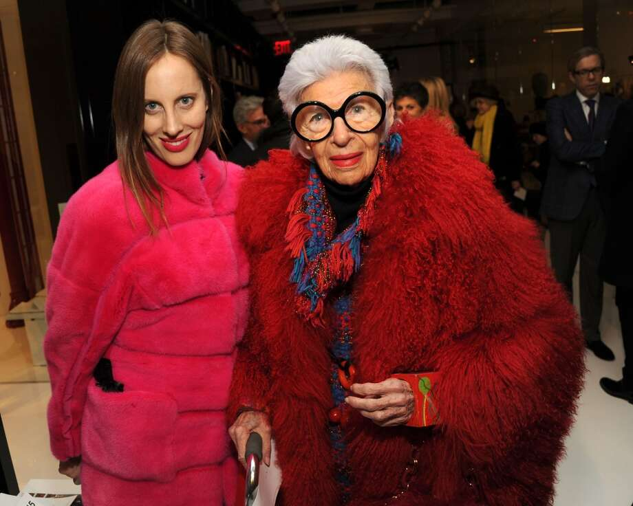 Filmmaker Liz Goldwyn (L) and fashion icon Iris Apfel attend the Ralph Rucci fashion show. Photo: Ben Gabbe, Getty Images