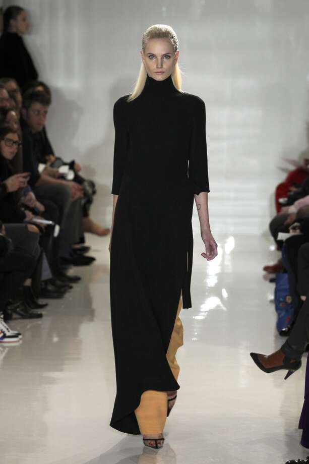 A model walks the runway at Ralph Rucci February 9. Photo: Joe Kohen, Getty Images