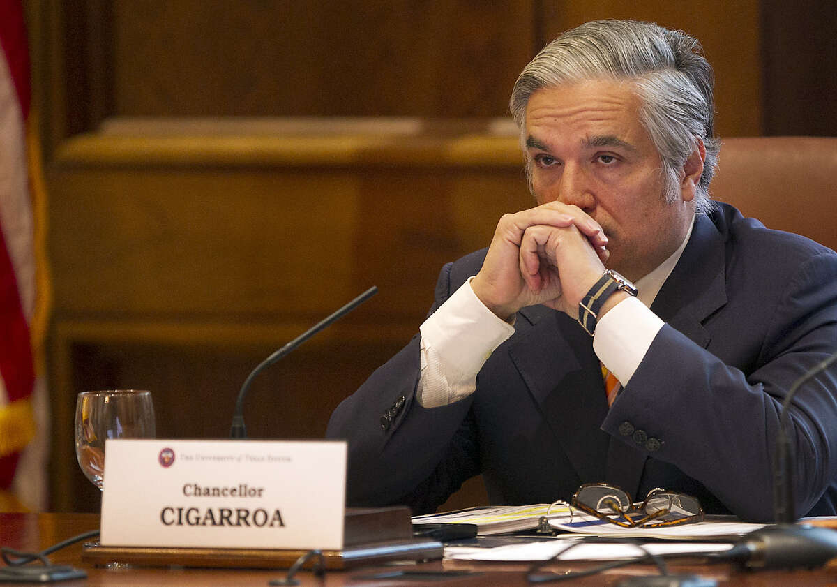 """Chancellor Francisco Cigarroa at the UT System board of regents meeting. He said UT-Austin President Bill Powers' continued service was """"in the best interest of the university."""""""