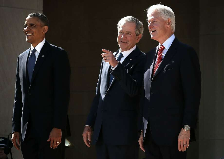 President Barack Obama, former President George W. Bush, and former President Bill Clinton attend the opening ceremony of the George W. Bush Presidential Center April 25, 2013 in Dallas, Texas. The Bush library, which is located on the campus of Southern Methodist University, with more than 70 million pages of paper records, 43,000 artifacts, 200 million emails and four million digital photographs, opened to the public on May 1, 2013. The library is the 13th presidential library in the National Archives and Records Administration system.  (Photo by Alex Wong/Getty Images) Photo: Alex Wong, Getty Images