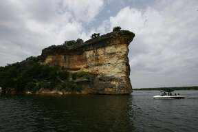 No. 28:  Possum Kingdom Lake   Boats pass through the opening known as Hells Gate on the Possum Kingdom State Park Lake.The cliff formations make a cove in the lake, which is a part of  the Brazos River.