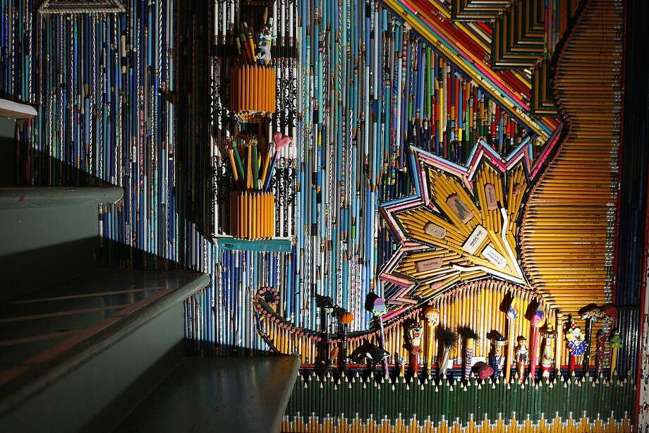"""Pencil Vania,"" a three-story stairwell completely lined in pencils by San Francisco artist Jason Mecier, is a highlight of the cottage owned by Jaina Davis. Photo: Liz Hafalia, The Chronicle"