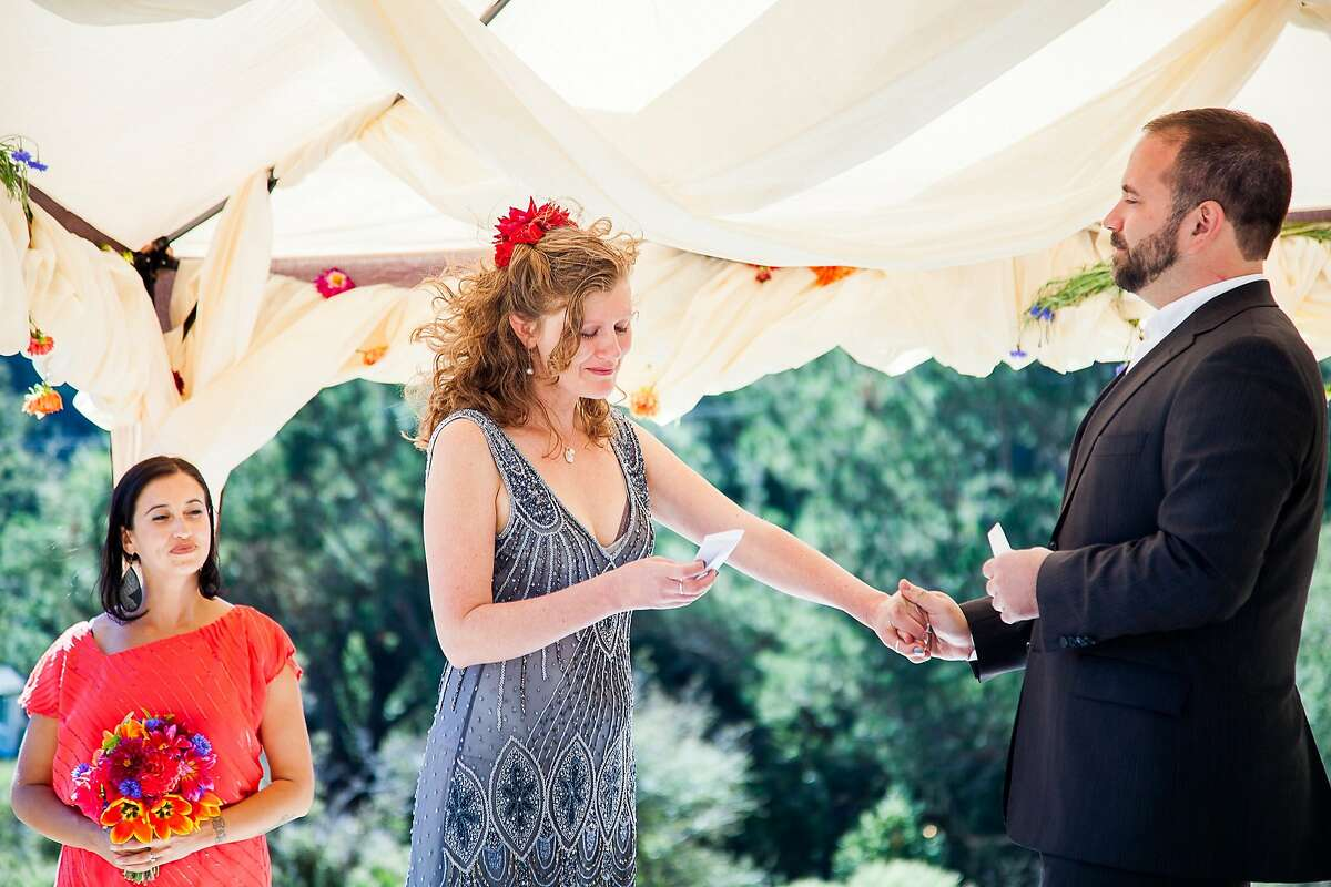 San Francisco couple Levana Saxon and Casey Harrell married Sept. 28 on a private piece of land in Sebastopol. The ceremony was led by two close friends.