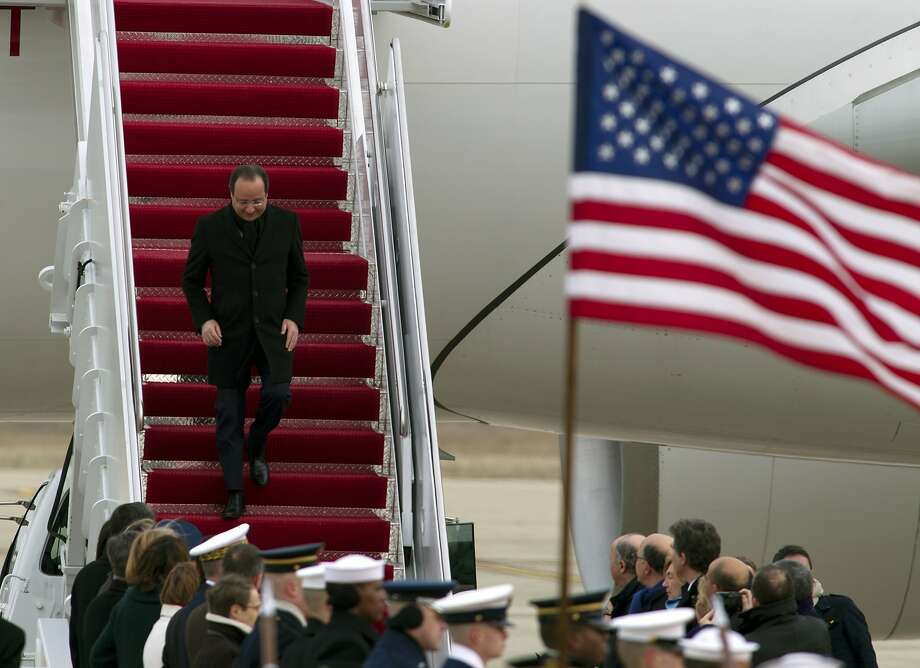 French President Francois Hollande arrives at Andrews Air Force Base for a state visit. He and President Obama toured Thomas Jefferson's estate. Photo: Jose Luis Magana, Associated Press