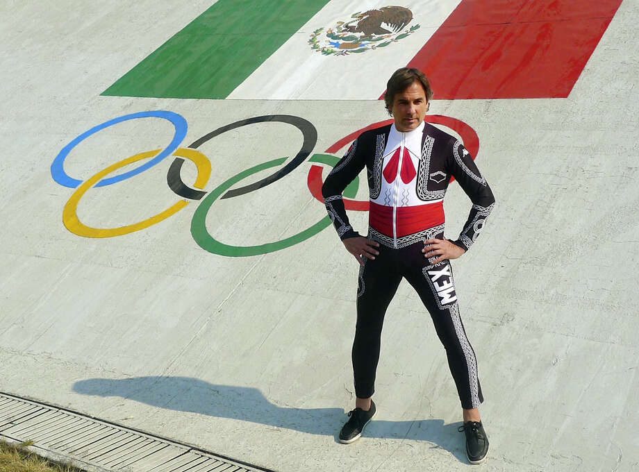 Mexican skier Hubertus von Hohenlohe shows off his mariachi-inspired speed suit. Photo: Mexico Olympic Committee / the Mexico Olympic Committee