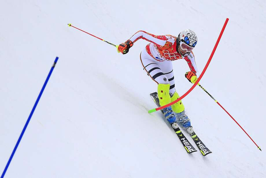 Germany's Maria Hoefl-Riesch competes in the Alpine skiing super-combined slalom Monday. In the downhill, she will be aiming for a record-equaling fourth career Olympic gold medal. Photo: Alexander Klein, AFP/Getty Images
