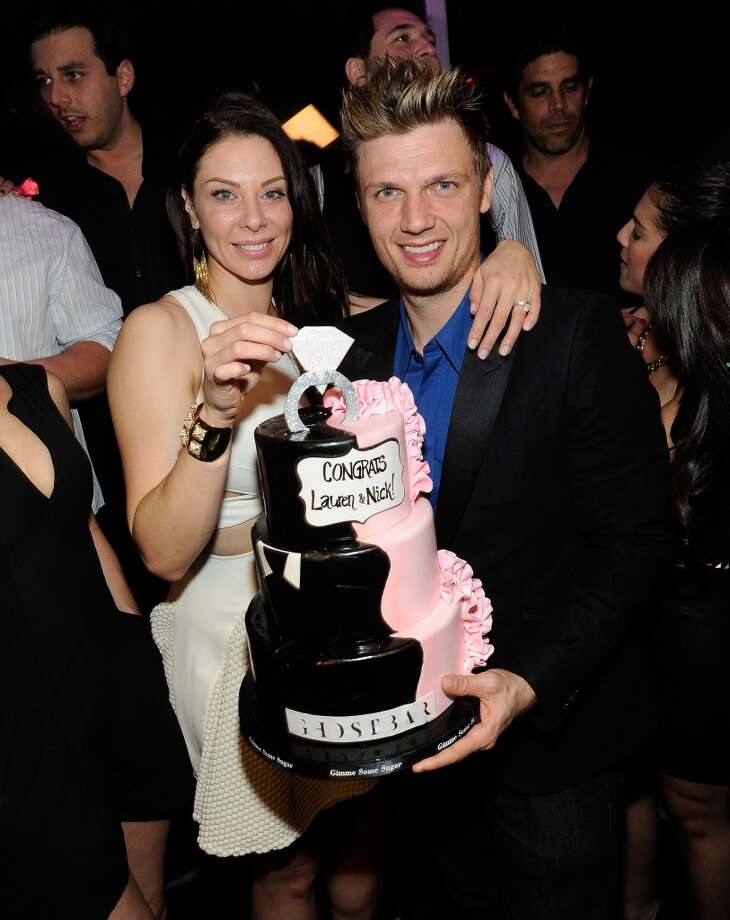 Singer Nick Carter (R) of the Backstreet Boys and his fiancee Lauren Kitt celebrate their coed bachelor and bachelorette party at Ghostbar at the Palms Casino Resort on February 8, 2014 in Las Vegas, Nevada.  (Photo by David Becker/WireImage) Photo: David Becker, WireImage