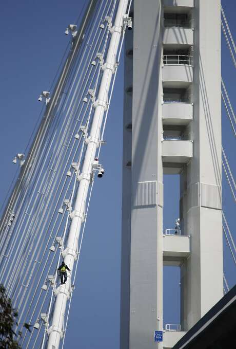 The lead designer of the new Bay Bridge eastern span is worried that rainwater could corrode the bridge's cable in its anchorages. Photo: Paul Chinn, The Chronicle
