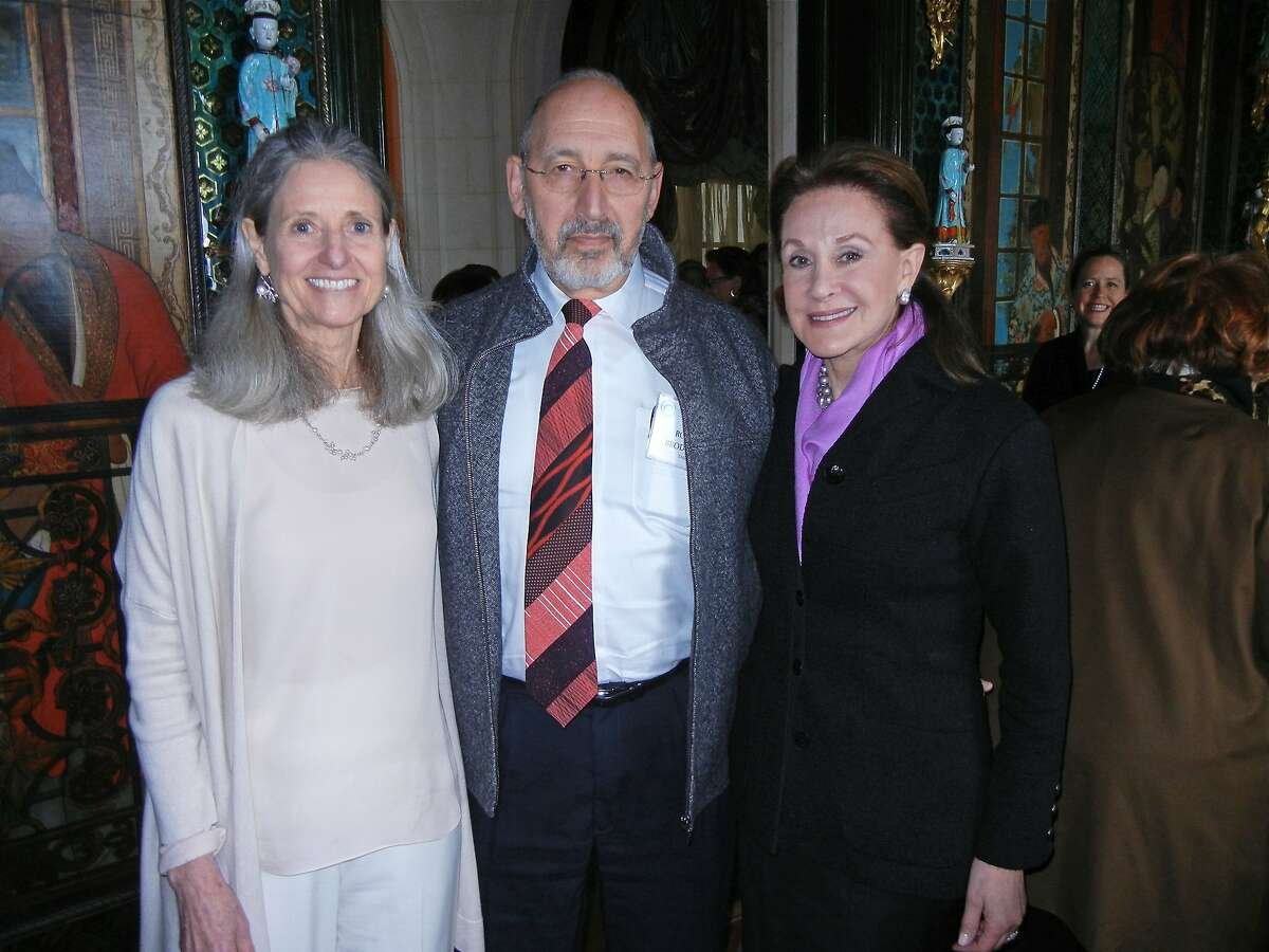 Journalist Katy Butler (at left) with Dr. Robert Brody and Lucie Weissman at Ann Getty's home for a Compassion & Choices lunch. Feb 2012. By Catherine Bigelow