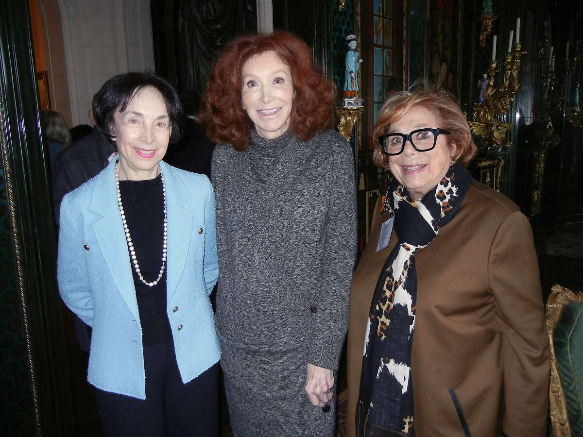 Merla Zellerbach (at left) with Ann Getty and Ellen Magnin Newman at Getty's home for a Compassion & Choices lunch. Feb 2014. By Catherine Bigelow