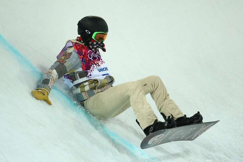 Shaun White of the United States crashes during Snowboard Halfpipe practice during day 3 of the Sochi 2014 Winter Olympics at Rosa Khutor Extreme Park on February 8, 2014 in Sochi, Russia.  (Photo by Cameron Spencer/Getty Images) Photo: Cameron Spencer, Getty Images