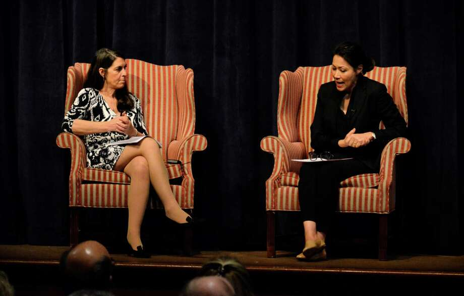 "Sarah Salant Gleason and NBC News' anchor Ann Curry talk about digital journalism at the 2014 Richard Salant Lecture at the New Canaan Country School on Sunday, Feb. 9, 2014. Gleason, one of Salant's daughters, said she ""loved the sense of optimism"" that Curry provided. Photo: Nelson Oliveira / New Canaan News"
