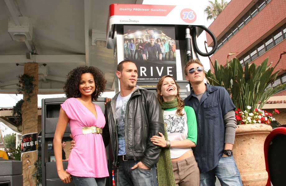 "The cast of Fox's new series ""Drive"" -- Rochelle Aytes, Kevin Alejandro, Mircea Monroe and  Riley Smith -- hands out free gas cards on April 5, 2007 in Century City, California. Photo: Jesse Grant, WireImage For Fox Broadcasting N"
