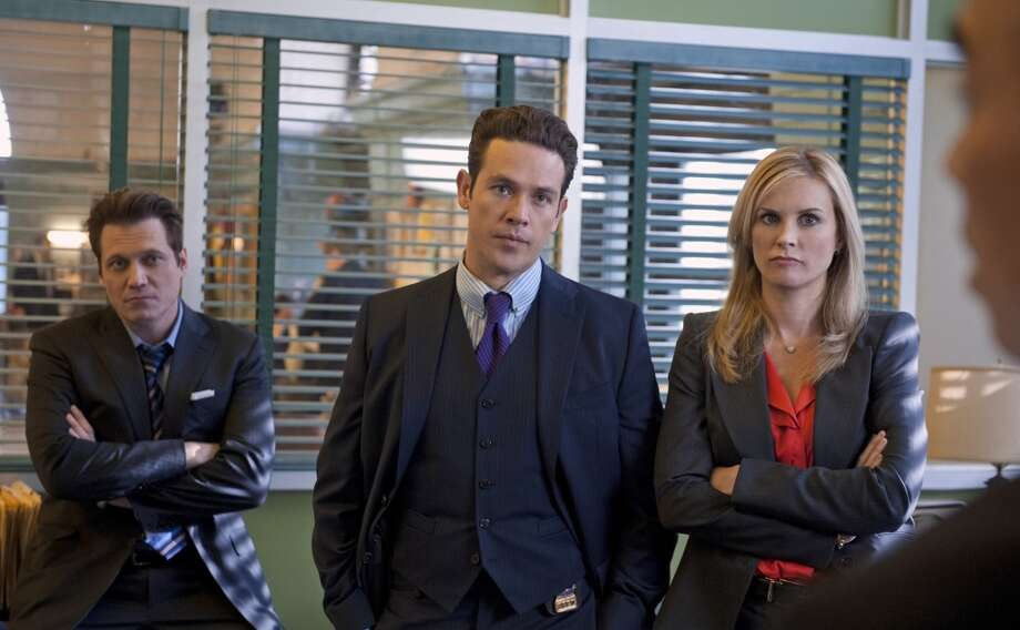 Christian Arroyo (Kevin Alejandro) and Deborah Mackenzie (Bonnie Somerville), are partners in the NYPD Detective squad, in the new CBS drama GOLDEN BOY. GOLDEN BOY, premieres Tuesday, February 26 (10:00 -? 11:00 PM, ET/PT), with a special sneak peak episode, on the CBS Television Network. Pictured left to right: Holt McCallany, Kevin Alejandro and Bonnie Somerville. Photo: CBS Photo Archive, CBS Via Getty Images