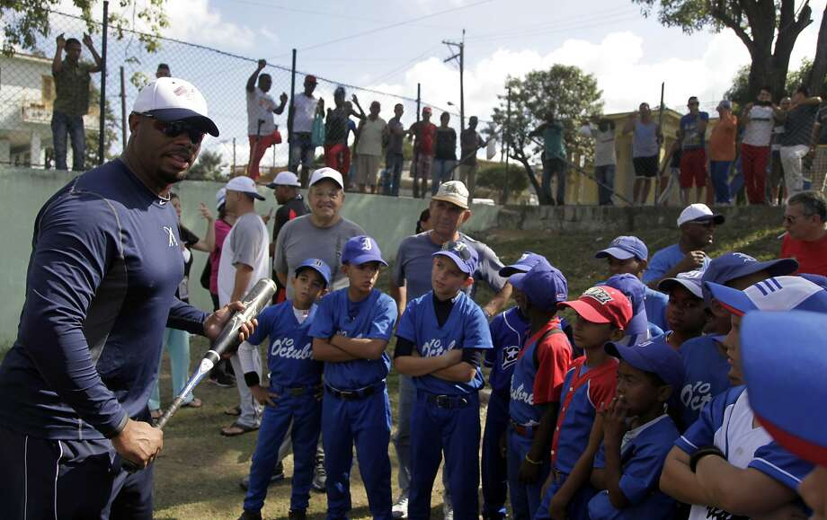 "Ken Griffey Jr. works with youngsters in Havana on Sunday. Passion for baseball ""starts out with 8- and 9-year-olds. So I wanted to personally see what it was like"" in Cuba, he said. Photo: Franklin Reyes, Associated Press"