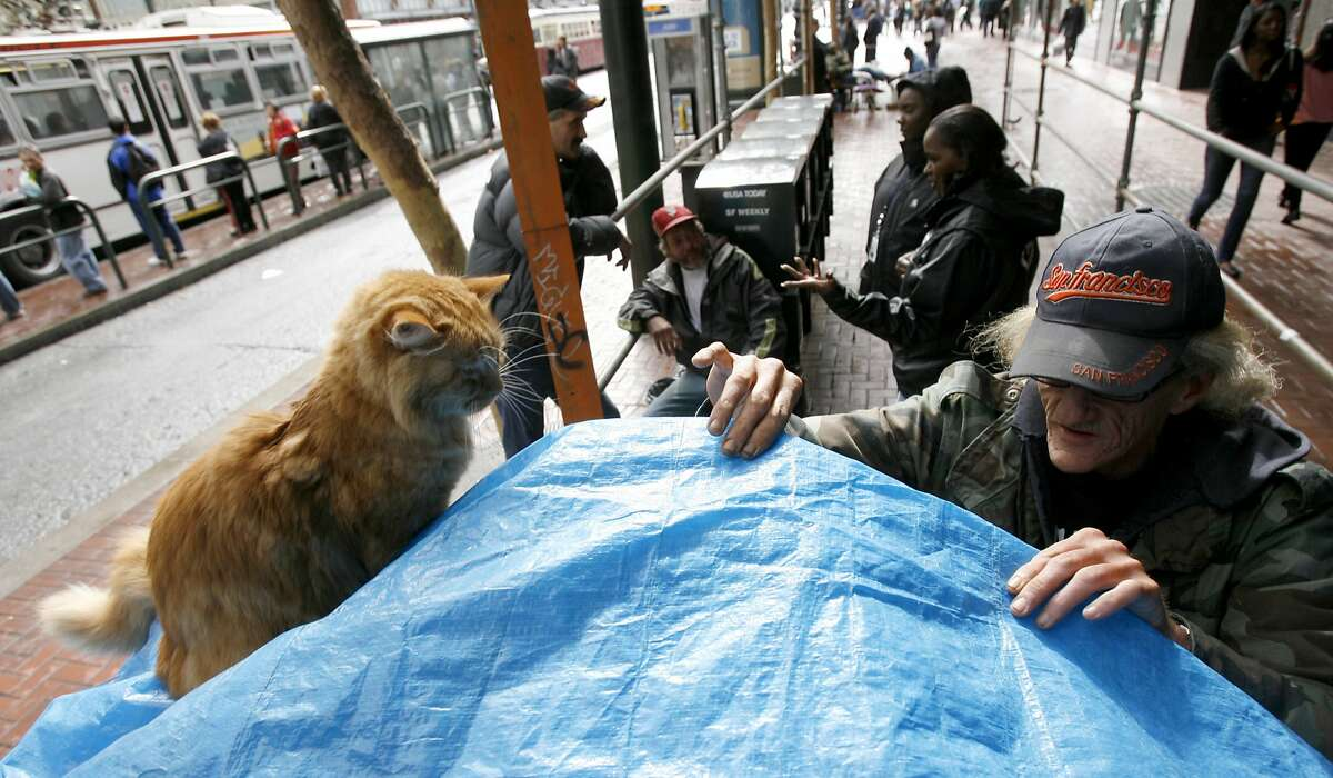 ( right to left) Sam Pike tends to his two cats Wrigley and Jeff as Brenda Winston and Raija Freeman of the homeless outreach talk with Chris Patnode and about finding shelter, Monday Oct. 15, 2007, in San Francisco, CA. Lacy Atkins / The Chronicle Photo taken on 10/15/07, in San Francisco, CA, USA Ran on: 10-16-2007 Sam Pike tends to his cats as (from right) Brenda Winston and Raija Freeman of San Franciscos Homeless Outreach Team talk with Chris Patnode and Curtis Bell about getting off the streets. Ran on: 10-16-2007 Sam Pike tends to his cats as (from right) Brenda Winston and Raija Freeman of San Franciscos Homeless Outreach Team talk with Chris Patnode and Curtis Bell about getting off the streets.