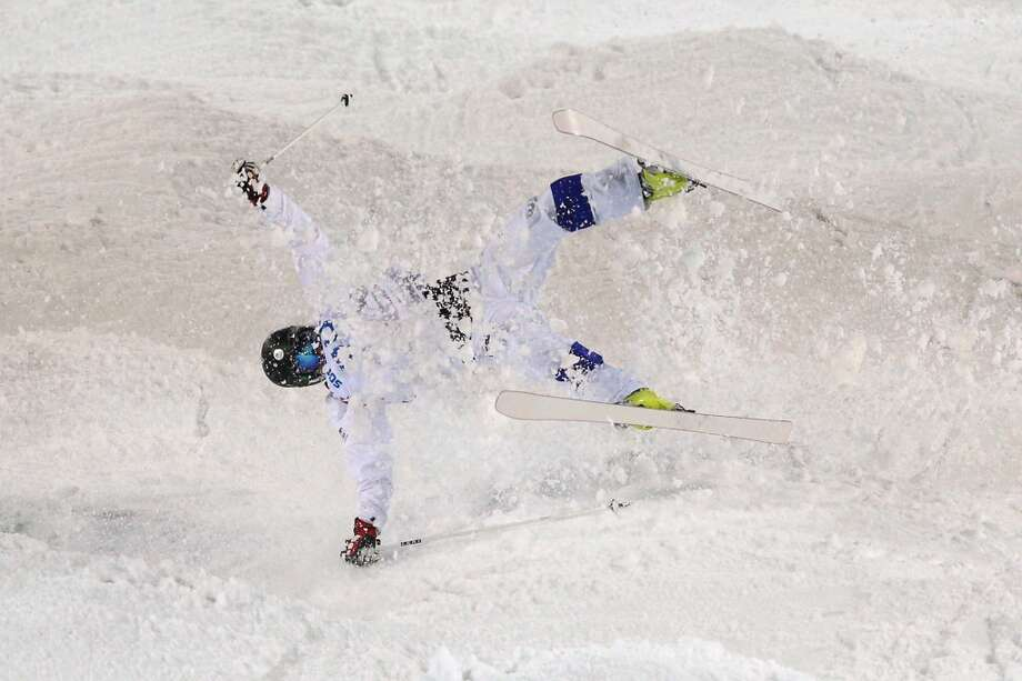 Jussi Penttala of Finland crashes out in the Men's Moguls Qualification on day three of the Sochi 2014 Winter Olympics at Rosa Khutor Extreme Park on February 10, 2014 in Sochi, Russia.  (Photo by Cameron Spencer/Getty Images) Photo: Cameron Spencer, Getty Images