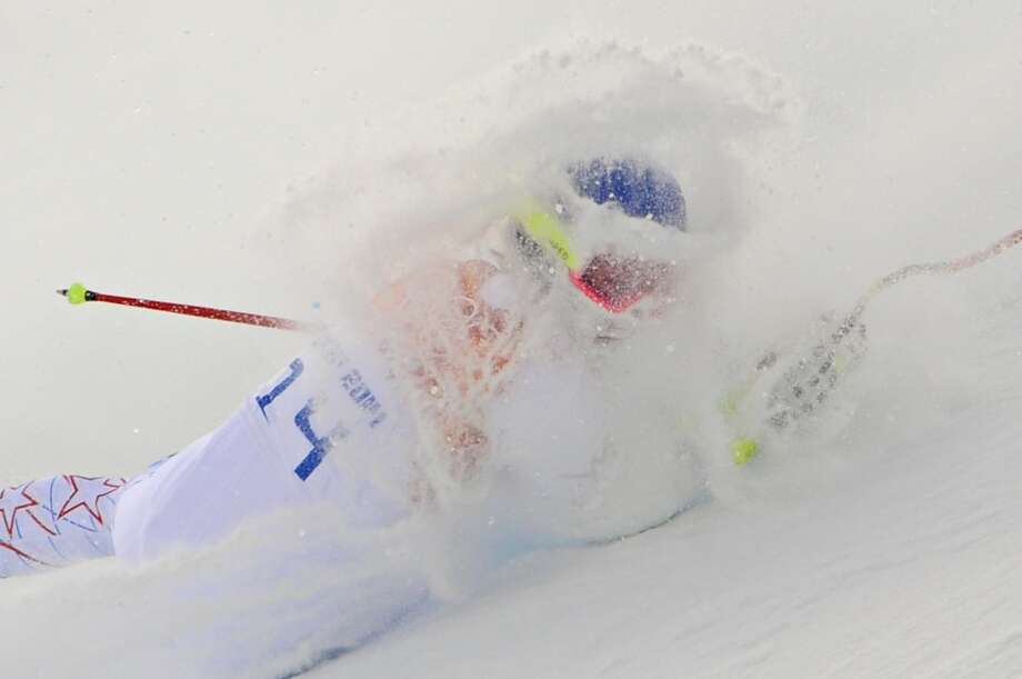 Laurenne Ross of the USA crashes out during the Alpine Skiing Women's Super Combined at the Sochi 2014 Winter Olympic Games at Rosa Khutor Alpine Centre on February 10, 2014 in Sochi, Russia. (Photo by Alain Grosclaude/Agence Zoom/Getty Images) Photo: Alain Grosclaude/Agence Zoom, Getty Images