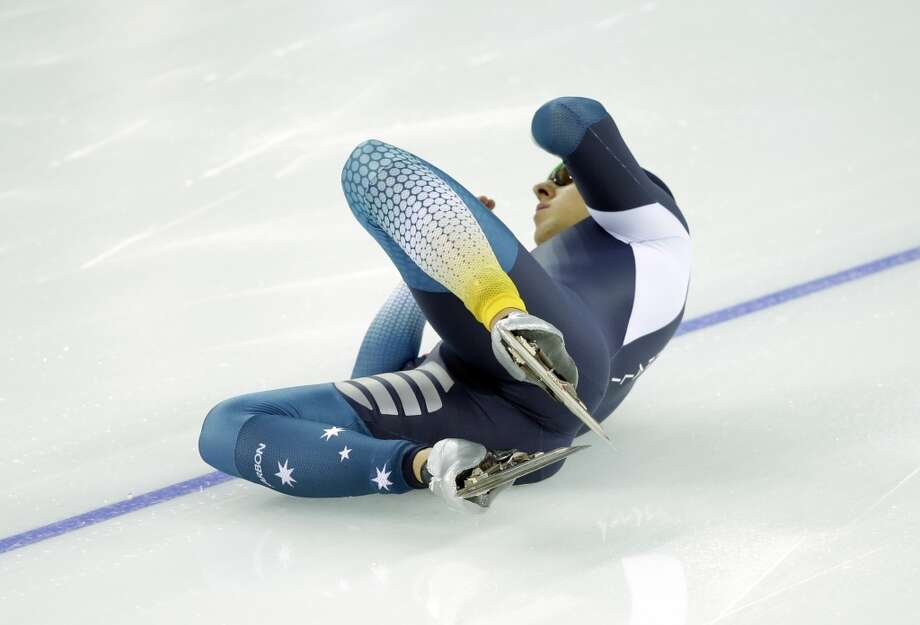 Australia's Daniel Greig crashes in the first heat of the men's 500-meter speedskating race at the Adler Arena Skating Center during the 2014 Winter Olympics, Monday, Feb. 10, 2014, in Sochi, Russia. (AP Photo/Patrick Semansky) Photo: Patrick Semansky, Associated Press