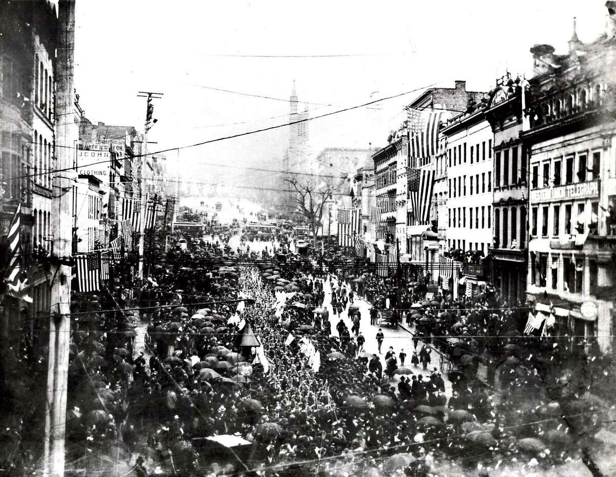 Click through the slideshow to view rare, historic photos from Albany. Historic Albany: Spanish-American War parade on State Street, 1898.