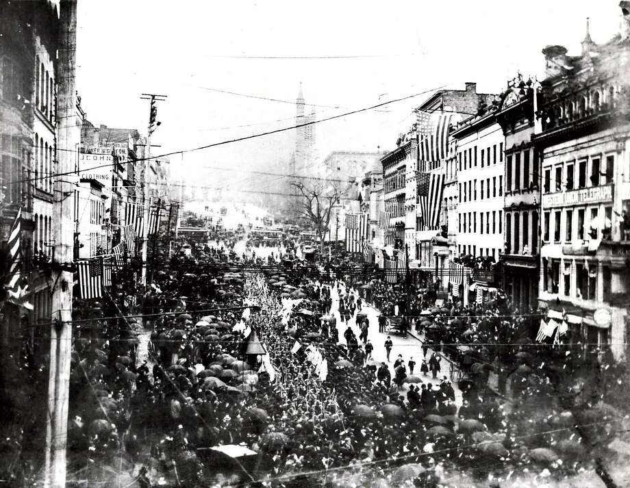 Click through the slideshow to view rare, historic photos from Albany.Historic Albany: Spanish-American War parade on State Street, 1898. / Times Union archive