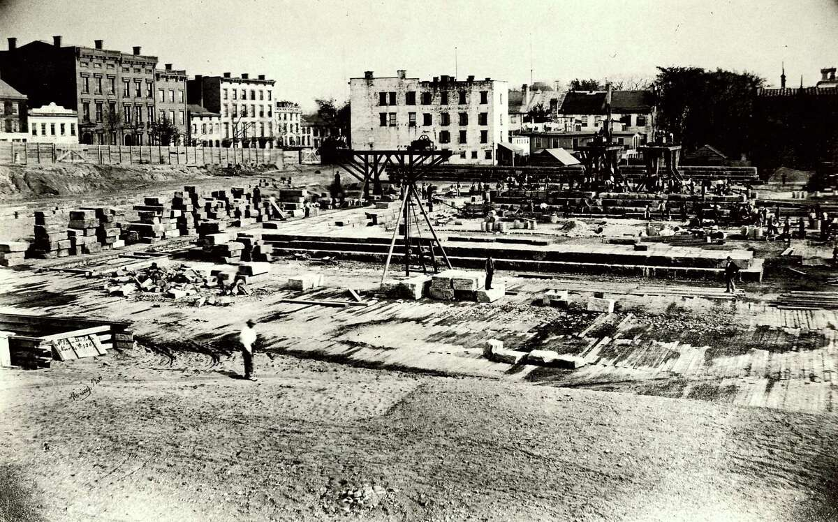 Historic Albany: New capitol construction scene, 1869.