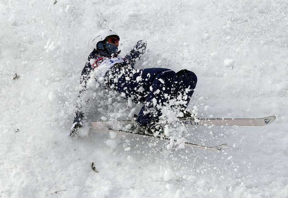 Mac Bohonnon of the United States crashes during freestyle skiing aerials training at the Rosa Khutor Extreme Park at the 2014 Winter Olympics, Monday, Feb. 10, 2014, in Krasnaya Polyana, Russia. (AP Photo/Andy Wong) Photo: Andy Wong, Associated Press