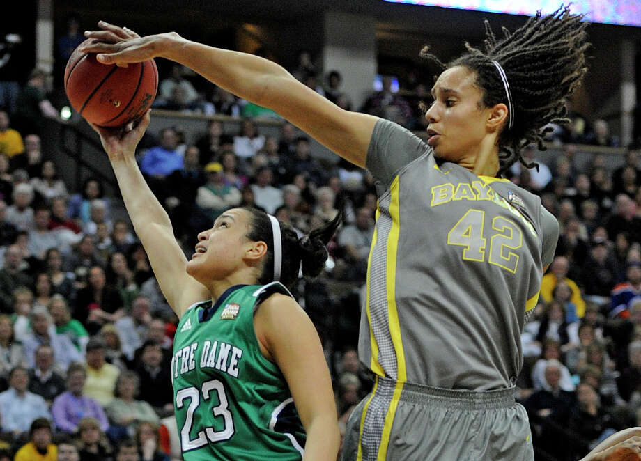 Now one of the biggest stars in the WNBA, Brittney Griner led her Baylor Bears to an NCAA women's basketball title in 2012 and became the first college player to score 2,000 points and block 500 shots. She became a WNBA All-Star in her first year with the Phoenix Mercury. Griner came out as gay in April 2013 in an interview with Sports Illustrated. Photo: AAron Ontiveroz, DP STAFF PHOTOGRAPHER / (C) 2012 DENVER POST, MEDIA NEWS GROUP
