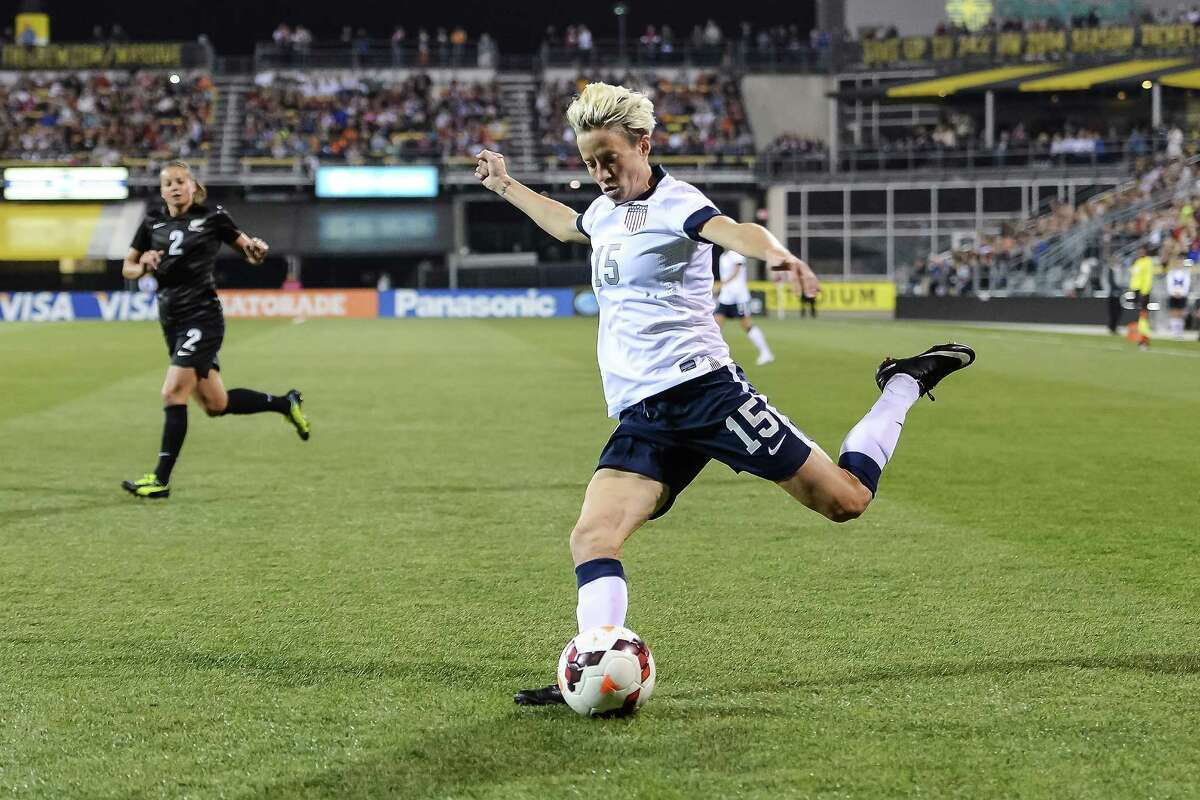 Megan Rapinoe , who plays with Seattle Reign FC in addition to her U.S. National Team duties, has been a giant on the women's soccer scene for at least a decade. An alumna of the University of Portland, she helped the U.S. win gold at the 2012 Summer Olympics in London. She came out as gay that summer before the start of the London Games.
