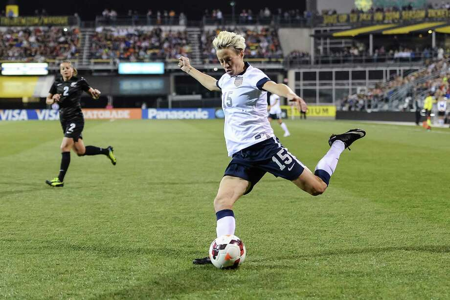 Megan Rapinoe, who plays with Seattle Reign FC in addition to her U.S. National Team duties, has been a giant on the women's soccer scene for at least a decade. An alumna of the University of Portland, she helped the U.S. win gold at the 2012 Summer Olympics in London. She came out as gay that summer before the start of the London Games. Photo: Jamie Sabau, Getty Images / 2013 Jamie Sabau