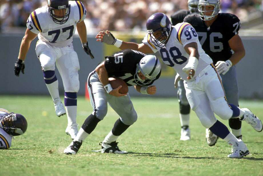 "Former Oregon State defensive tackle Esera Tuaolo played in parts of 10 NFL seasons, most of them with the Minnesota Vikings. As a rookie second-round pick with Green Bay in 1991, he racked up 3.5 sacks while starting all 16 games. He came as gay out in an interview with HBO's ""Real Sports"" in 2002 and has worked with the NFL to curtail homophobic behavior ever since. Photo: Stephen Dunn, Getty Images / 1993 Getty Images"