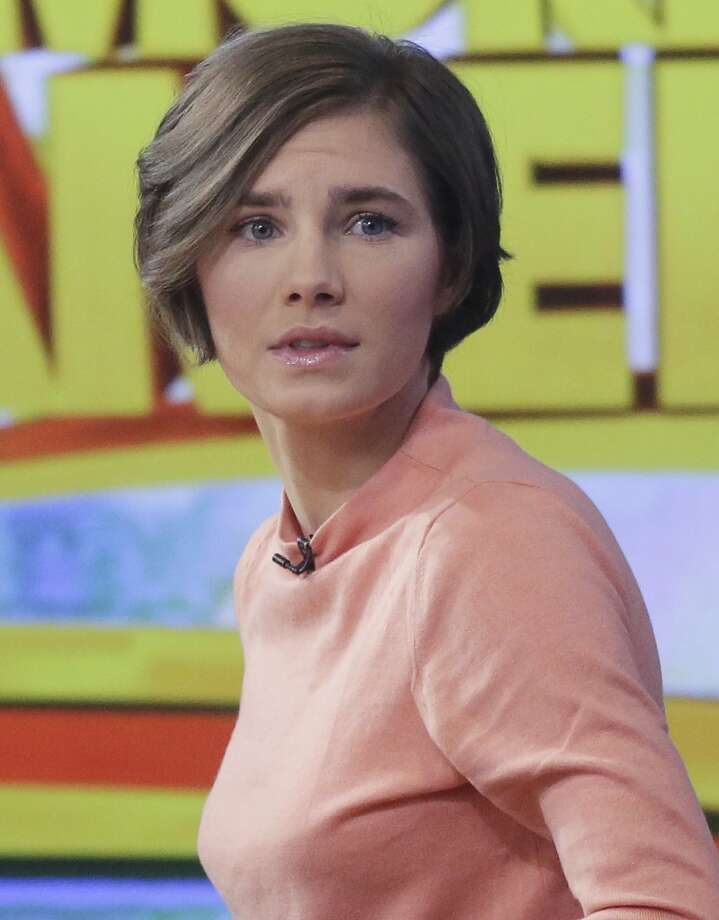 Amanda Knox prepares to leave the set following a television interview Jan. 31, 2014, in New York. (AP Photo/Mark Lennihan) Photo: Mark Lennihan, ASSOCIATED PRESS