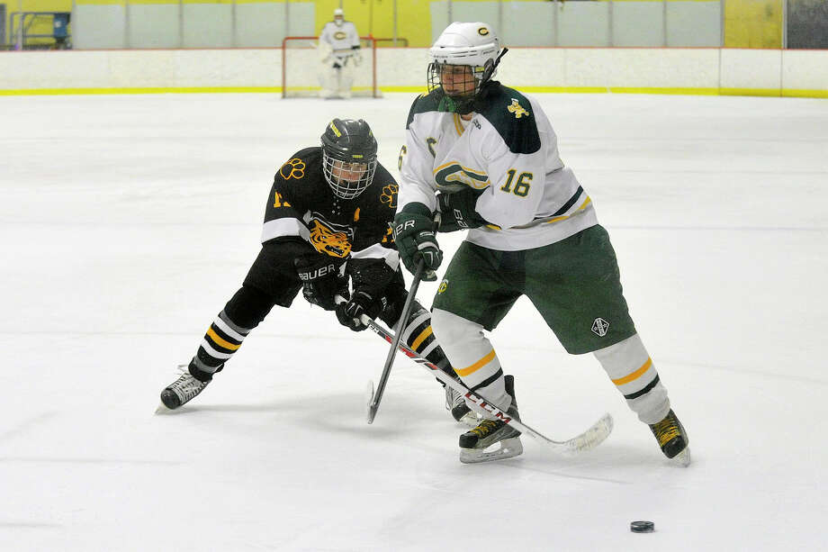 Daniel Hand's Daniel Braumann reaches his stick in on Trinity Catholic's Will Egan to knock the puck loose during their hockey game at Terry Conners Rink in Stamford, Conn., on Monday, Feb. 10, 2014. Trinity Catholic won, 3-1 Photo: Jason Rearick / Stamford Advocate
