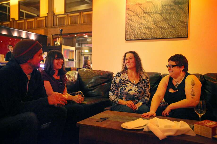 Friends gather at Mendo Bistro's Barbelow Jan. 31, 2014 in Fort Bragg. Photo: Leah Millis, The Chronicle