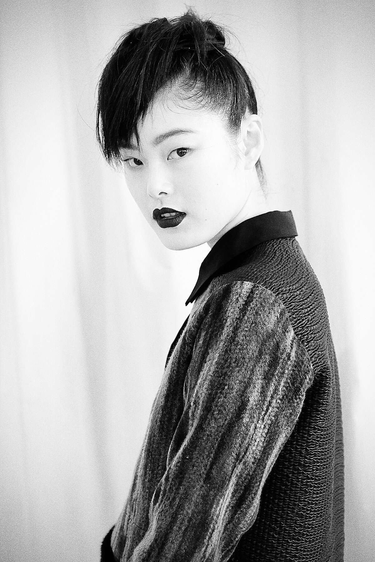 Hair by Jon Reyman, backstage at the Ann Yee show Feb. 5, where he described the look as